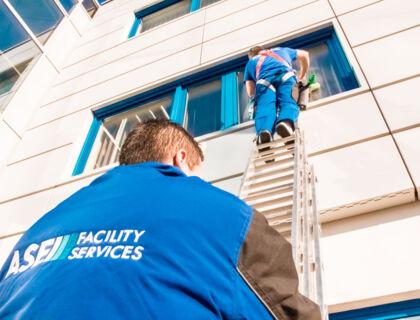 ASE Fensterreinigung mit Leiter